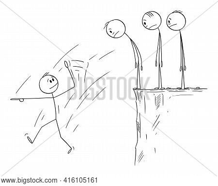 Failure Of Leader, Team Is Watching His Fall, Vector Cartoon Stick Figure Illustration