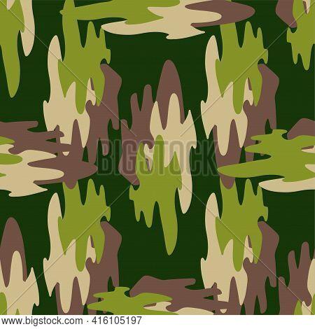 Abstract Khaki Pattern For Cloth Design. Seamless Fashion Wallpaper. Grunge Fashion Background. Mode