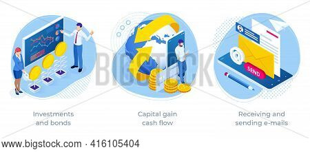 Isometric Investments And Bonds, Capital Gain Cash Flow, Receiving And Sending E-mails. Business Opp