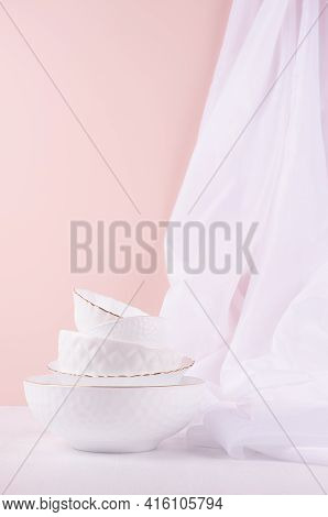 White Ceramic Crockery With Thin Gold Line And Silk Curtain In Elegant Soft Light Pink Interior On W