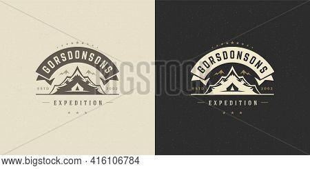 Mountains Logo Emblem Outdoor Adventure Camping Vector Illustration Mountain And Tent Silhouettes