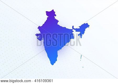 Map Icon Of India. Colorful Gradient Map On Light Background. Modern Digital Graphic Design. Light W