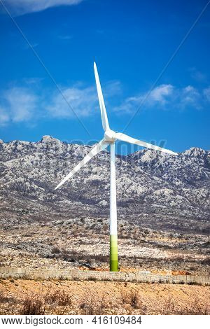 Wind Power Turbine Under Velebit Mountain View, Dalmatia Region Of Croatia