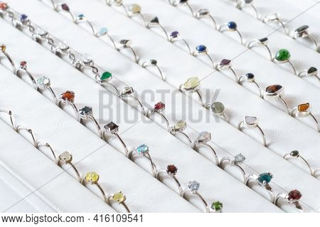 Jewelry Made Of Silver.women's Jewelry On A White Background.