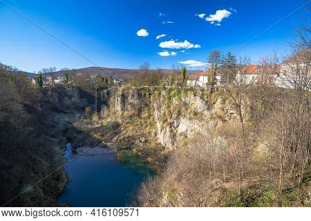 Town Of Ogulin And Dobra River Canyon Abyss View, Landscape Of Central Croatia