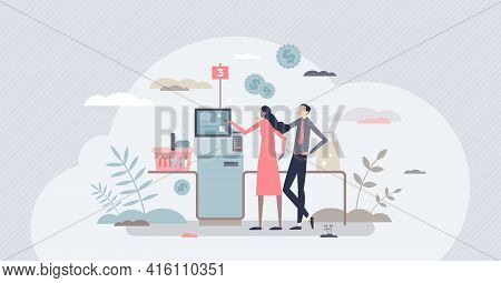 Self Checkout And Terminal Payment After Grocery Shopping Tiny Person Concept