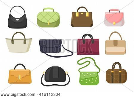 Set Of Woman Luxury Handbags And Purses Vector Illustration. Cartoon Bags And Clutches With Handles