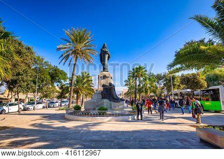Valetta, Malta - January 11, 2019: People in the center of Valletta, the capital city of Malta.