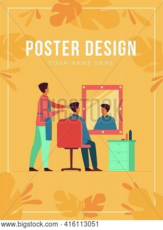 Men Sitting In Barbershop Isolated Flat Vector Illustration. Cartoon Hairdressers Doing Haircut For