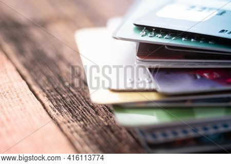 Colorful Stack Of Credit Cards. Macro Photo Of Pay Cards. Online Payment.
