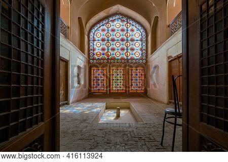 Yazd, Iran - 14.04.2019: Interior Of The Tallest Wind Tower Of Iran In Dolat-abad Garden, Yazd, Iran