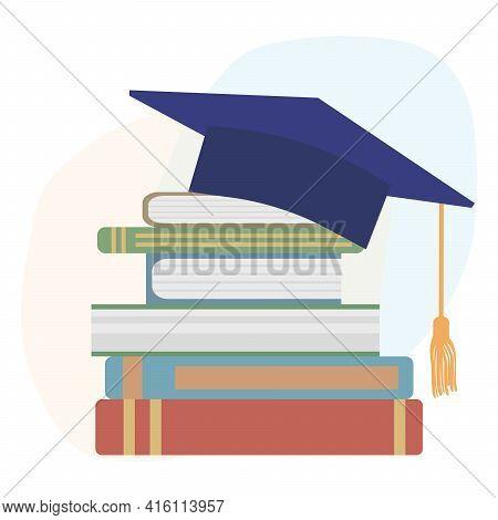 Graduation Mortarboard Or Square Cap And Books. Vector Illustration