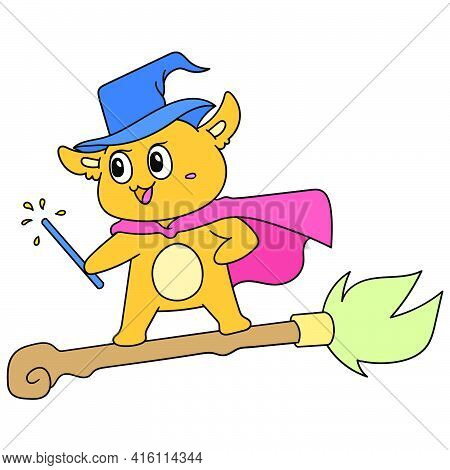 A Dog Witch With A Magic Wand Flew On A Broomstick, Character Cute Doodle Draw. Vector Illustration