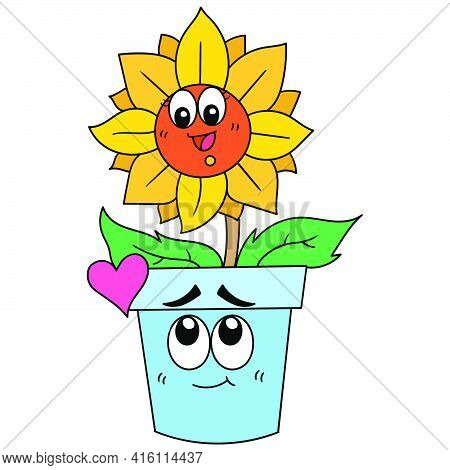 Sunflowers Growing In Lush Pots Are Beautiful Expressions Of Happy Laughter, Character Cute Doodle D