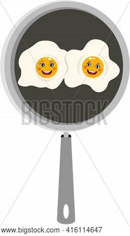 Scalable Vectorial Representing A Funny Two Fried Eggs In Skillet, Element For Design, Illustration