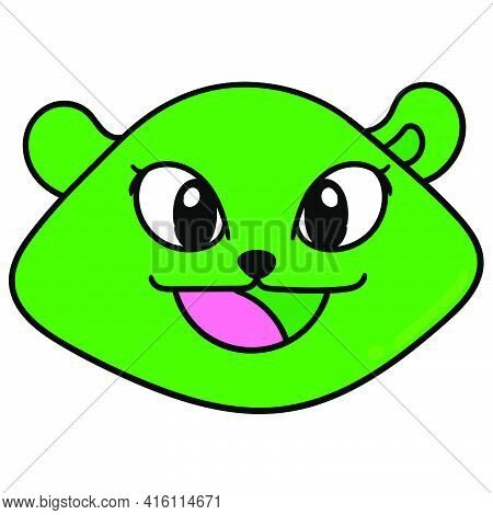 Emoticon Female Animal Head Laughs Pretty, Character Cute Doodle Draw. Vector Illustration