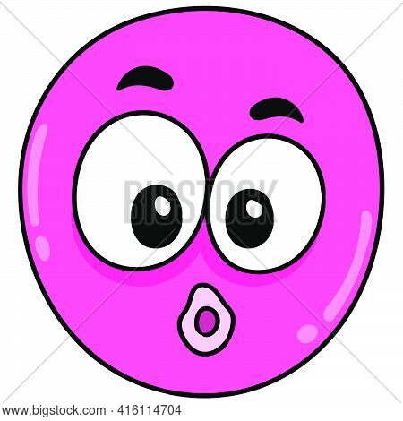 Head Emoticon With Mouth Purring To Kiss, Character Cute Doodle Draw. Vector Illustration