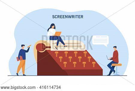 Tiny People Surrounding Giant Typewriter. Paper, Screenwriter, Laptop Flat Vector Illustration. Writ