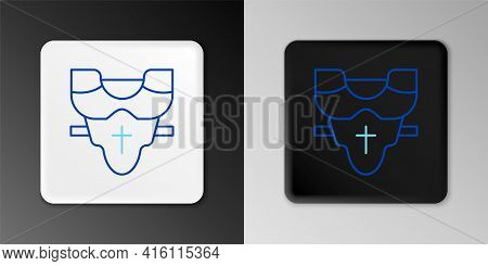 Line American Football Player Chest Protector Icon Isolated On Grey Background. Shoulder And Chest P