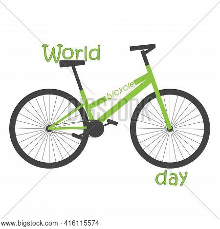 World Bicycle Day. Green Bicycle With Inscription On White Background