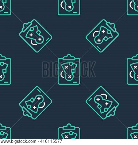 Line Planning Strategy Concept Icon Isolated Seamless Pattern On Black Background. Baseball Cup Form