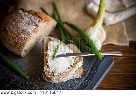 Homemade Buckwheat Bread With Garlic Cheese Spread