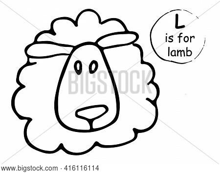Cute Nice Funny Little Sheep. Hand Drawn Cartoon Sketch Style Colorful Vector Illustration. Concept