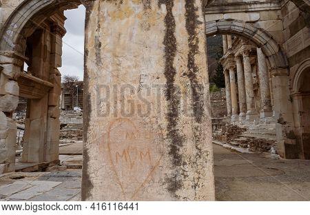 Selcuk, Izmir, Turkey - 03.09.2021: Writings Of People On Historical Columns Of Mazaeus Mithridates