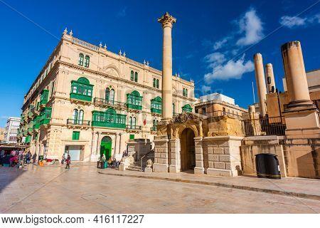 Valetta, Malta - January 11, 2019: People in the city center of Valletta, the capital of Malta.