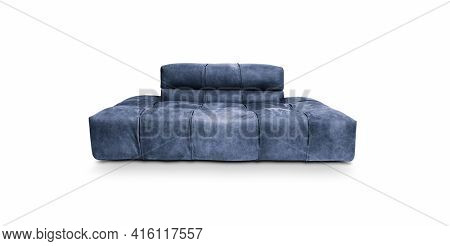 Leather blue armchair on white background, including clipping path