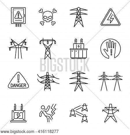 Set Of Monochrome High Voltage Transmission Line Icon Vector Electric And Power Engineer Industry