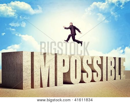 man jump over impossible concrete word poster