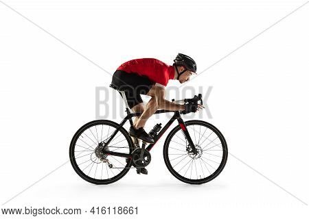 Professional Male Bike Rider With Road Bike Isolated Over White Background.