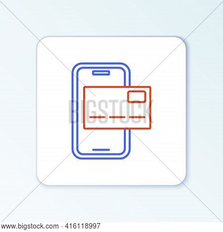 Line Mobile Banking Icon Isolated On White Background. Transfer Money Through Mobile Banking On The