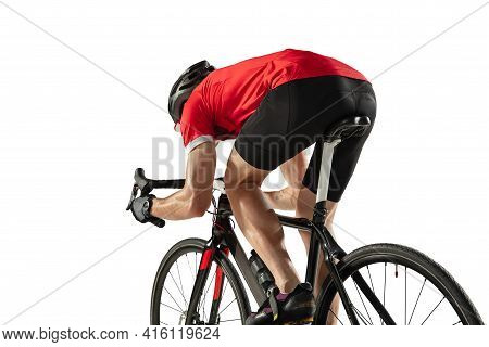 Young Professional Male Bike Rider On Road Bike Isolated Over White Background.