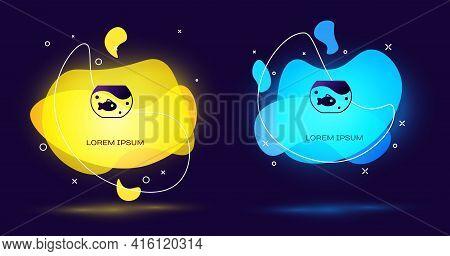 Black Aquarium With Fish Icon Isolated On Black Background. Round Glass Aquarium. Aquarium For Home