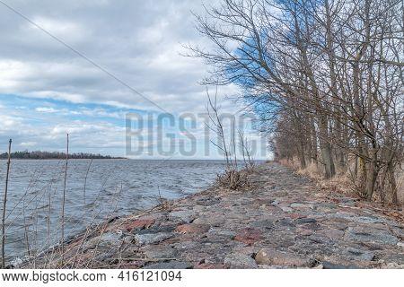 Riverbank Near Estuary Vistula River To The Baltic Sea At Windy Day.