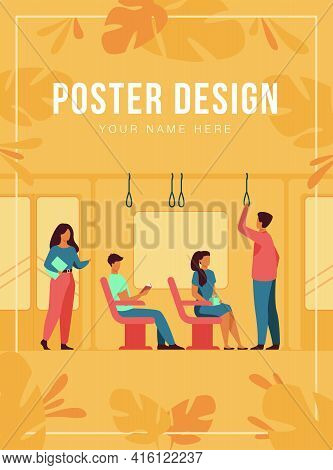 People Standing And Sitting In Bus Or Metro Train Isolated Flat Vector Illustration. Cartoon Men And