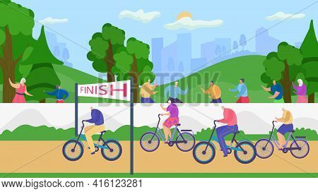 Active Senior Old People Lead Healthy Lifestyle Vector Illustration. Retirees In Nature. Cycling Sui