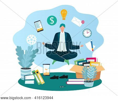 Workplace Man In Office With Business Paper Work, Pile Folders, Files, Vector Illustration. Workplac