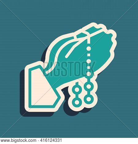 Green Hands In Praying Position With Rosary Icon Isolated On Green Background. Praying Hand Islam Mu