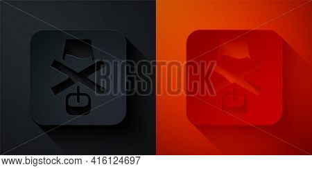 Paper Cut No Alcohol Icon Isolated On Black And Red Background. Prohibiting Alcohol Beverages. Forbi