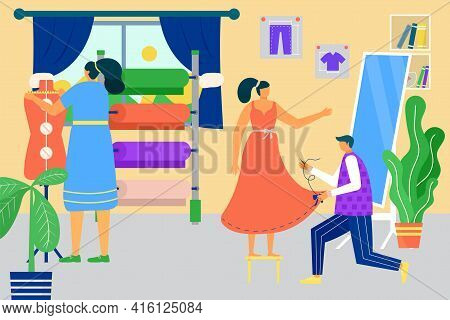 Tailor Work In Atelier, Vector Illustration. Fashion Designer Tailoring Fabric Into Dress, Flat Text