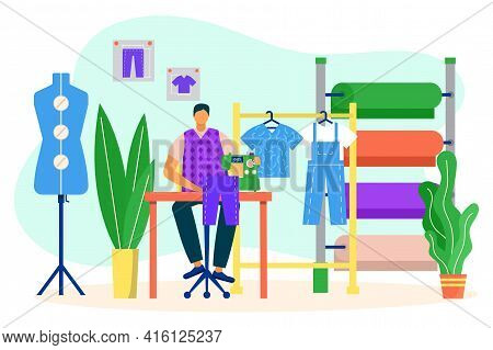 Man Fashion Designer Sewing In Atelier, Vector Illustration. Clothing Job With Textile, Tailor Dress
