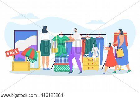Flat Sale At Flea Market Concept, Vector Illustration. Man Woman Character Buy Clothes, Old Vintage
