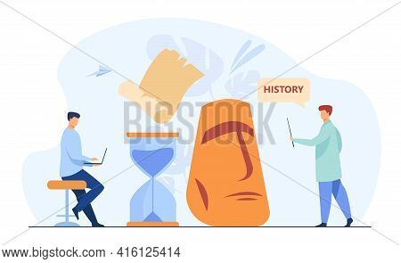 Tiny Men Learning Ancient History. Hourglass, Teacher, Study Flat Vector Illustration. Education And
