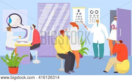 Medical Ophthalmology Care About Patient Eyes, Vector Illustration. Ophthalmologist Doctor Character