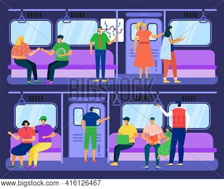 Subway Train With Passengers Concept, Vector Illustration. Travel By City Metro Transport, People Us