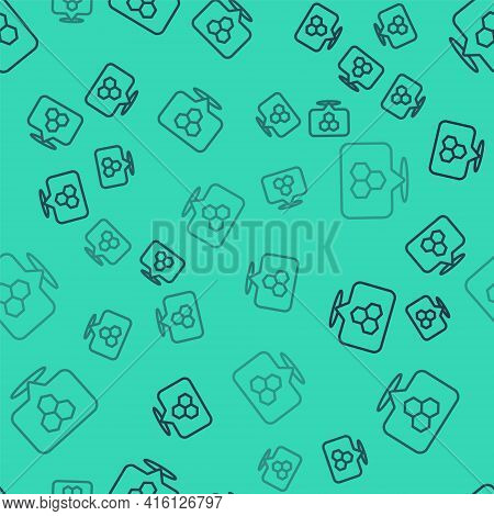 Black Line Honeycomb Bee Location Map Pin Pointer Icon Isolated Seamless Pattern On Green Background