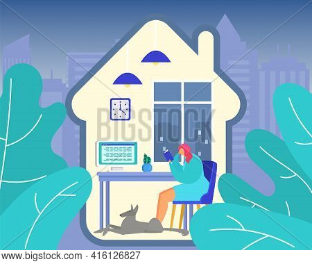 Woman Relax At Home, Vector Illustration. Young Girl Character Read Cartoon Book At Room, Leisure In